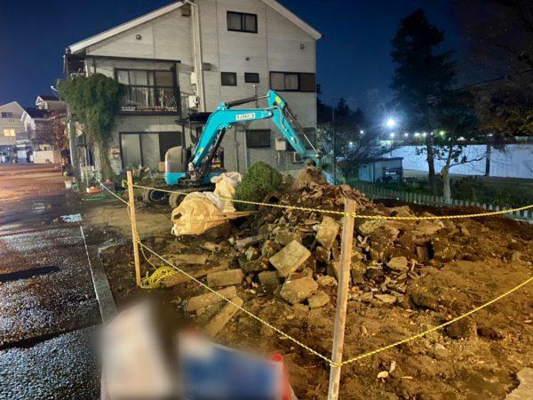 杉並区成田西 地中埋設物撤去を行いました。